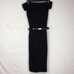 Ted Baker Black Vindy Bardot Bodycon Midi Dress